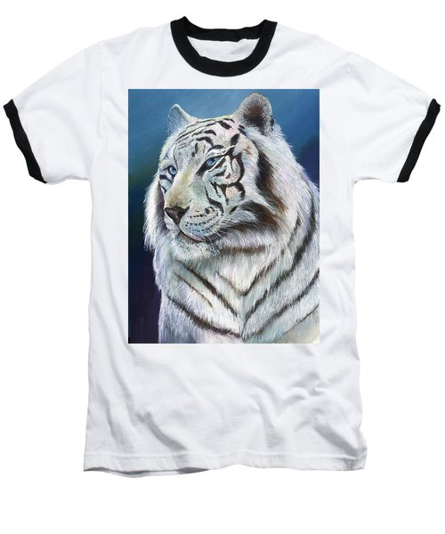 Baseball T-Shirt featuring the painting Angel The White Tiger by Sherry Shipley