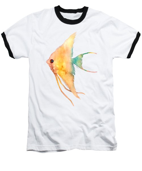 Baseball T-Shirt featuring the painting Angelfish II - Solid Background by Hailey E Herrera