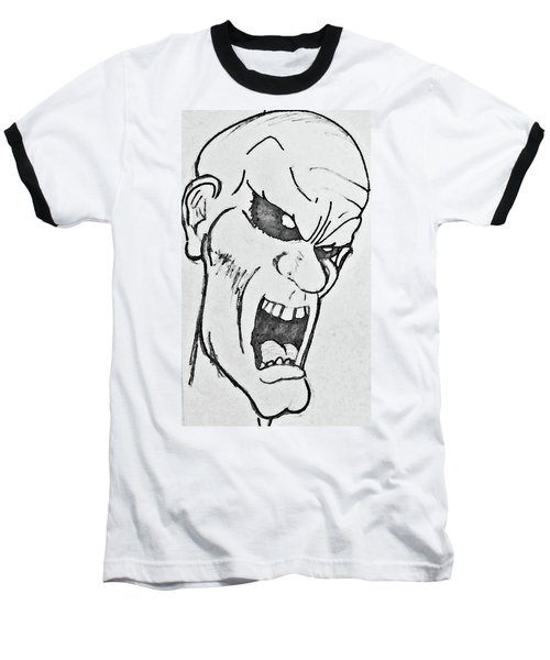 Baseball T-Shirt featuring the drawing Angry Cartoon Zombie by Yshua The Painter