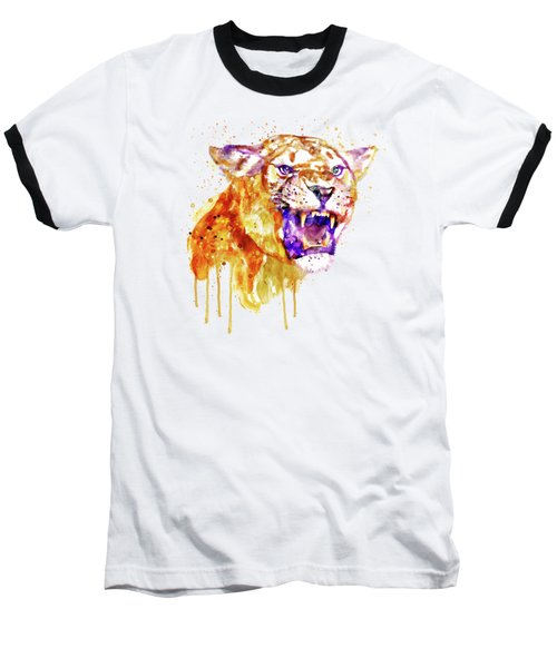 Baseball T-Shirt featuring the mixed media Angry Lioness by Marian Voicu