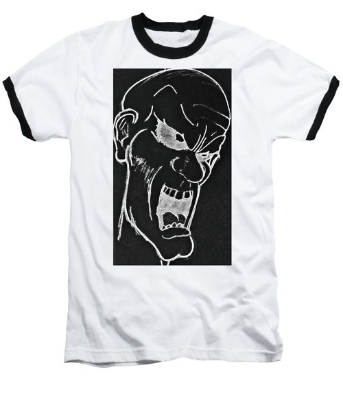 Angry Zombie In Negative Baseball T-Shirt by Yshua The Painter