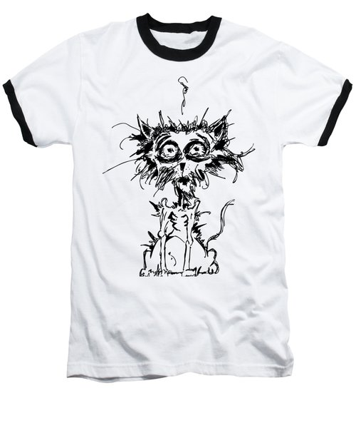 Angst Cat Baseball T-Shirt by Nicholas Ely