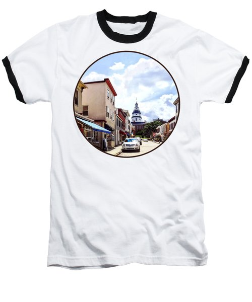 Annapolis Md - Shops On Maryland Avenue And Maryland State House Baseball T-Shirt