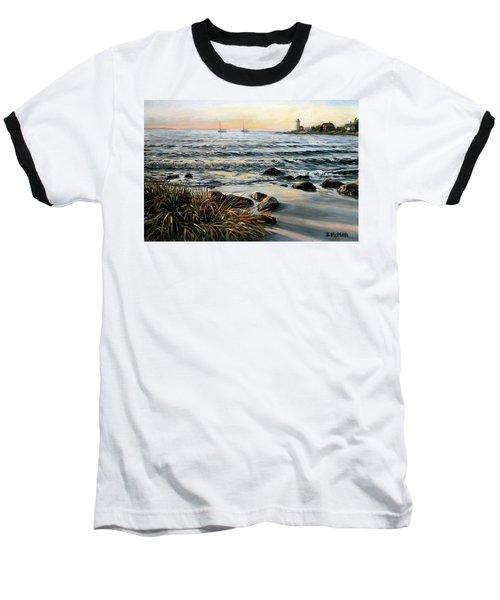 Annisquam Beach And Lighthouse Baseball T-Shirt