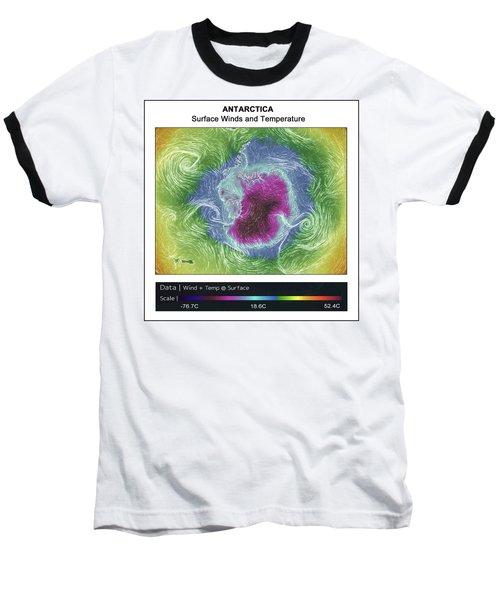 Antartica Surface Winds And Temps Baseball T-Shirt by Geraldine Alexander