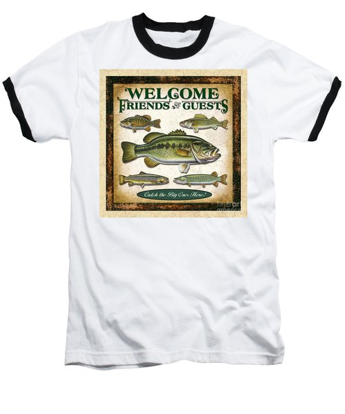 Baseball T-Shirt featuring the painting Antique Lure Fish Panel Three by JQ Licensing Jon Q Wright