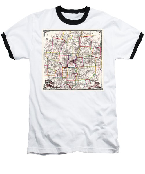Horse Carriage Era Driving Map Of Hartford Connecticut Vicinity 1884 Baseball T-Shirt by Phil Cardamone