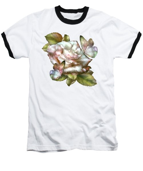 Baseball T-Shirt featuring the mixed media Antique Rose And Butterflies by Carol Cavalaris