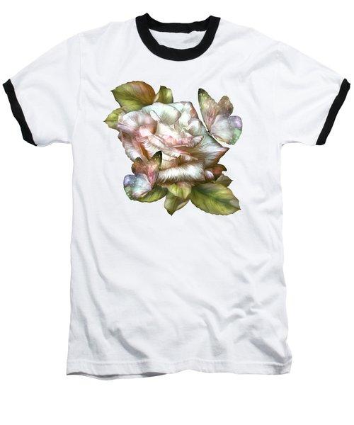 Antique Rose And Butterflies Baseball T-Shirt