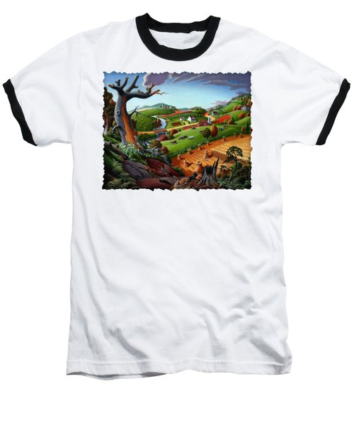 Appalachian Fall Thanksgiving Wheat Field Harvest Farm Landscape Painting - Rural Americana - Autumn Baseball T-Shirt