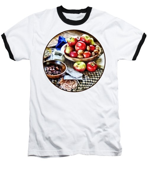 Apples And Nuts Baseball T-Shirt by Susan Savad