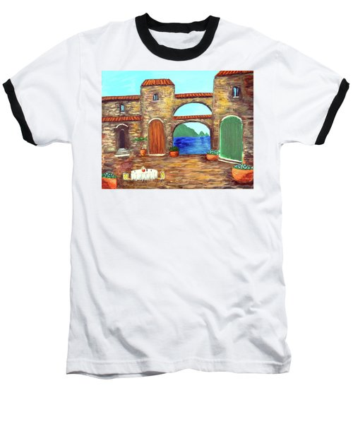 Baseball T-Shirt featuring the painting Arches Of Amalfi  by Larry Cirigliano