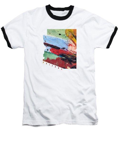 Arizona Map Art - Painted Map Of Arizona Baseball T-Shirt