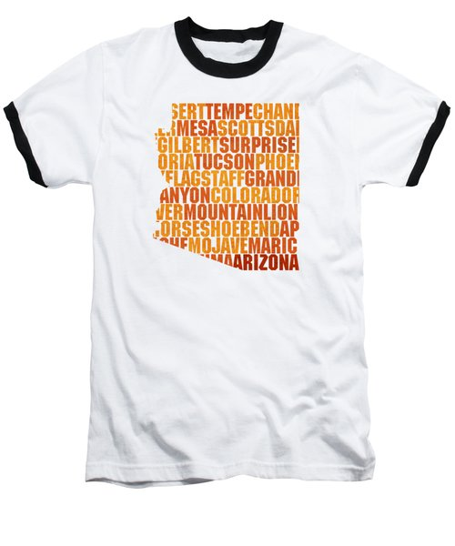 Arizona State Outline Word Map Baseball T-Shirt