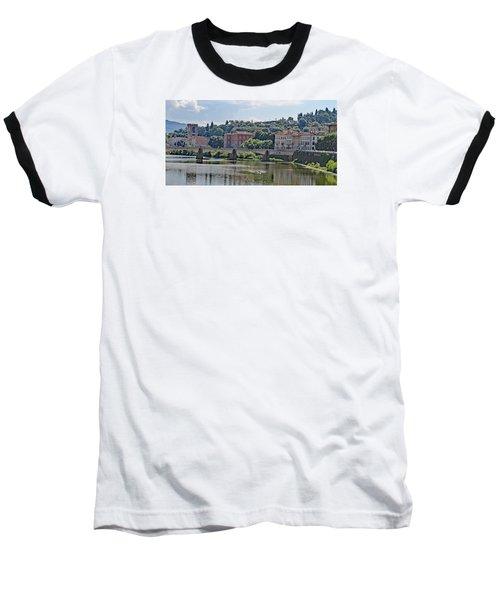 Arno River And Bridge Baseball T-Shirt by Allan Levin
