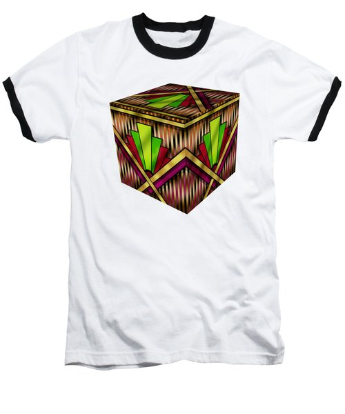 Art Deco 13 Cube Baseball T-Shirt by Chuck Staley