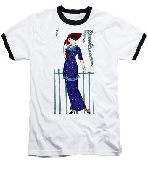 Art Deco Fashion Polka Dots Baseball T-Shirt