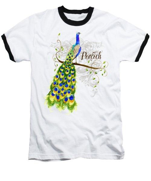 Art Nouveau Peacock W Swirl Tree Branch And Scrolls Baseball T-Shirt