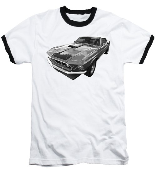 428 Cobra Jet Mach1 Ford Mustang 1969 In Black And White Baseball T-Shirt