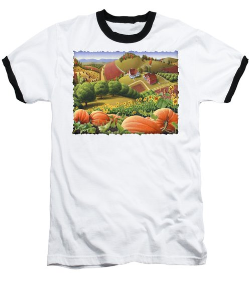 Farm Landscape - Autumn Rural Country Pumpkins Folk Art - Appalachian Americana - Fall Pumpkin Patch Baseball T-Shirt by Walt Curlee