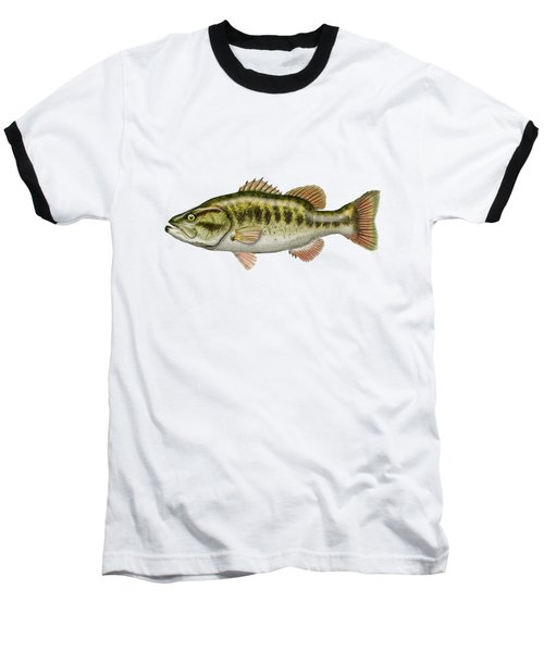 Largemouth Bass On Red Leather Baseball T-Shirt by Serge Averbukh