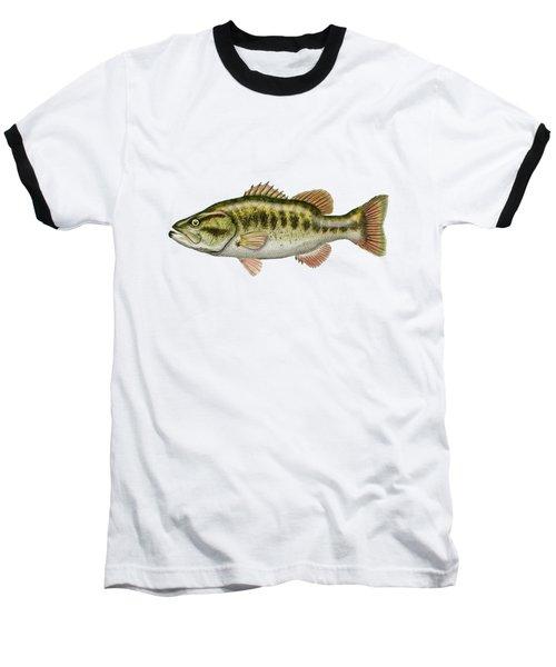 Largemouth Bass On Red Leather Baseball T-Shirt