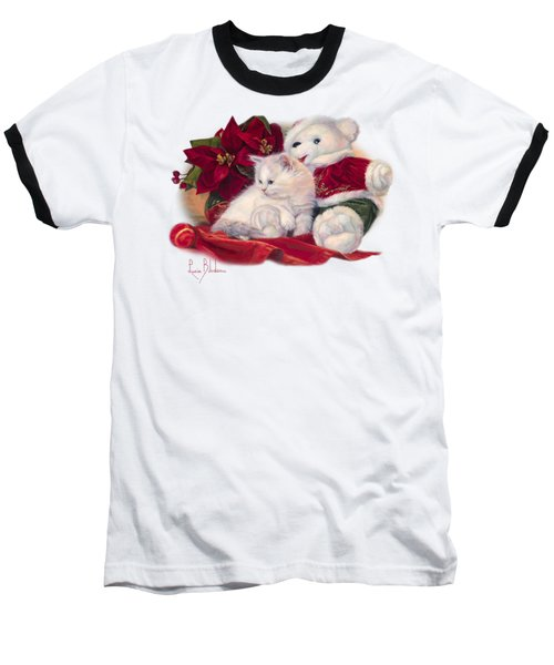 Christmas Kitten Baseball T-Shirt