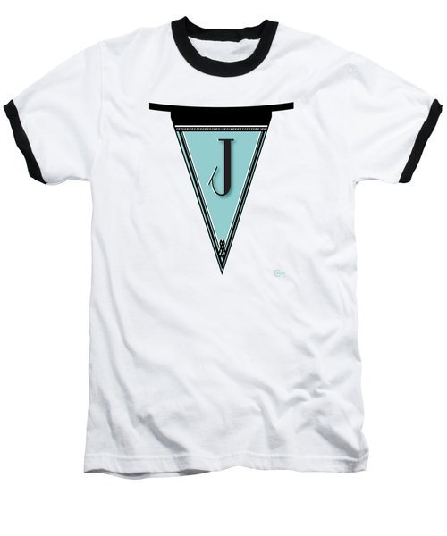 Pennant Deco Blues Banner Initial Letter J Baseball T-Shirt by Cecely Bloom
