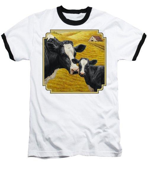 Holstein Cow And Calf Farm Baseball T-Shirt