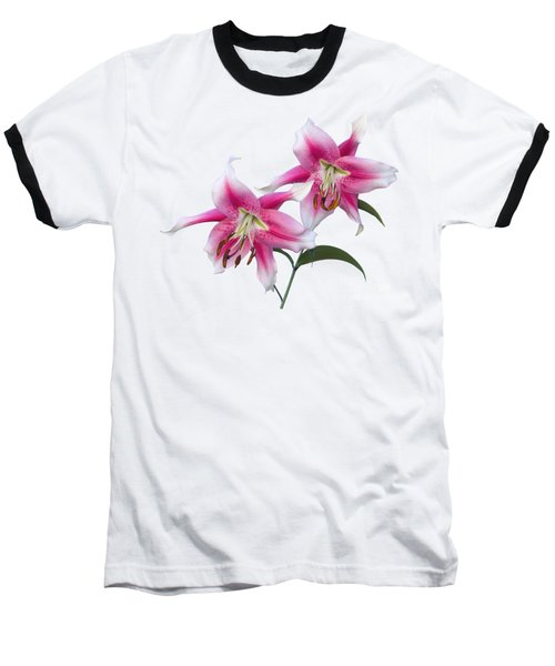 Pink And White Ot Lilies Baseball T-Shirt