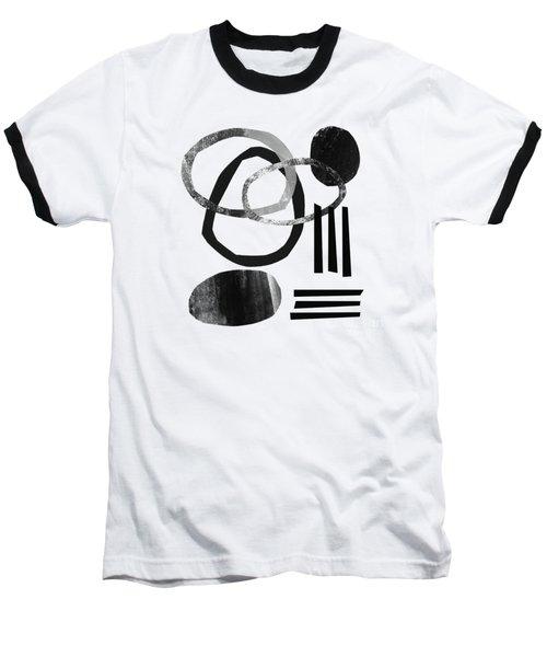 Black And White- Abstract Art Baseball T-Shirt