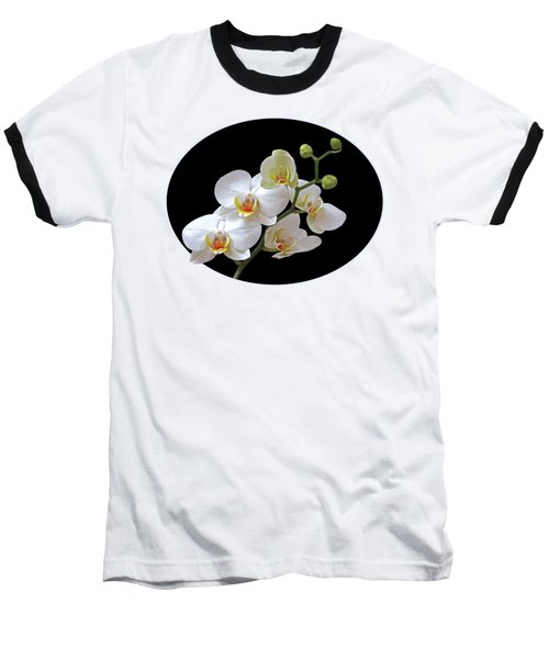 Orchids On Black And Gold Baseball T-Shirt