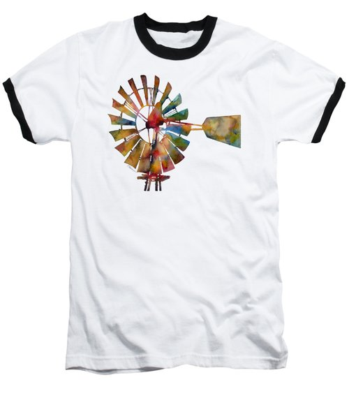 Baseball T-Shirt featuring the painting Windmill by Hailey E Herrera