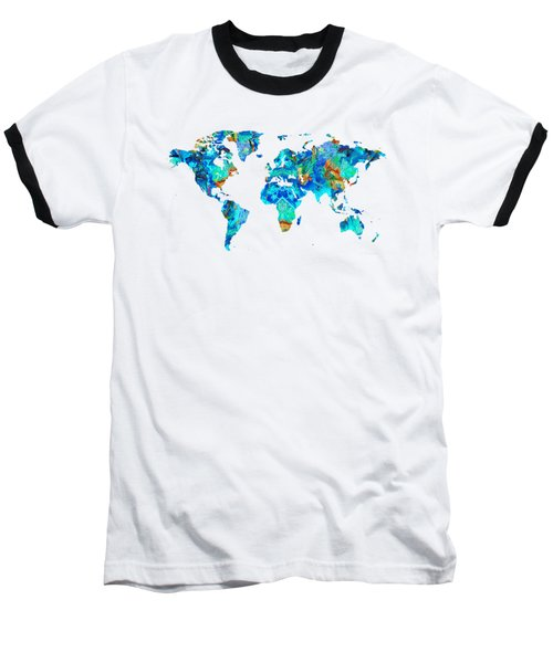 World Map 22 Art By Sharon Cummings Baseball T-Shirt by Sharon Cummings