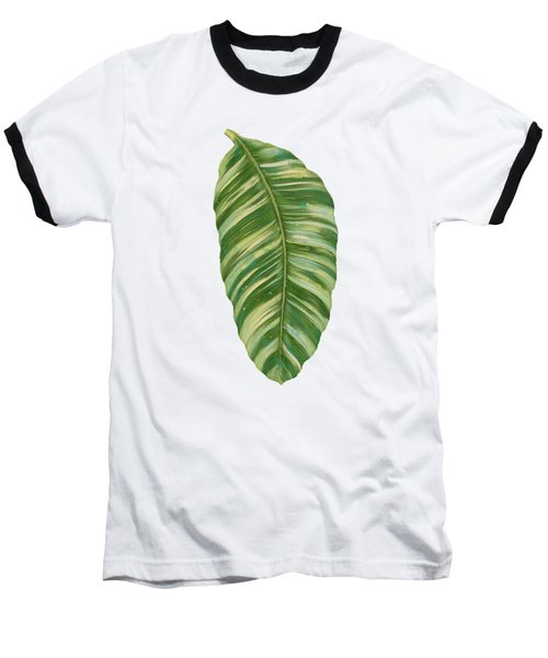 Baseball T-Shirt featuring the painting Rainforest Resort - Tropical Leaves Elephant's Ear Philodendron Banana Leaf by Audrey Jeanne Roberts