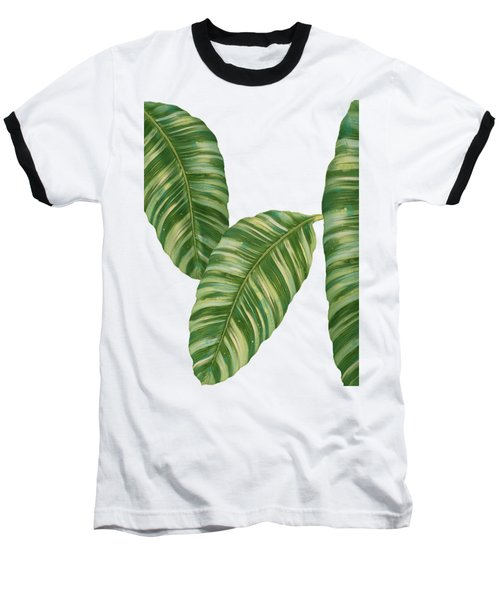 Baseball T-Shirt featuring the painting Rainforest Resort - Tropical Banana Leaf  by Audrey Jeanne Roberts