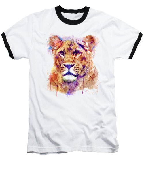 Lioness Head Baseball T-Shirt by Marian Voicu