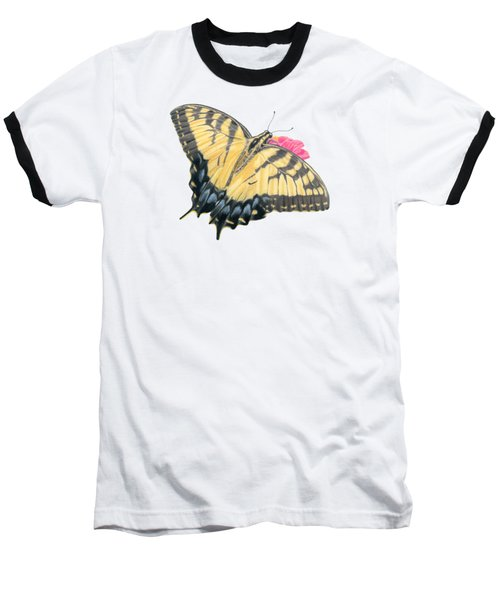 Swallowtail Butterfly And Zinnia- Transparent Backgroud Baseball T-Shirt