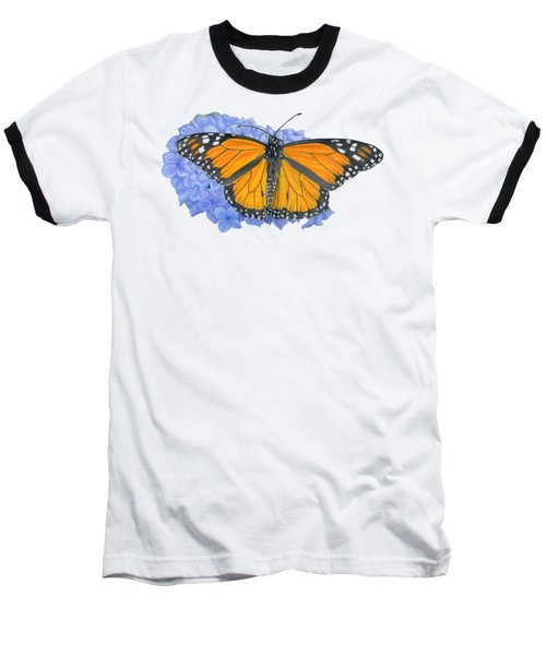 Monarch Butterfly And Hydrangea- Transparent Background Baseball T-Shirt