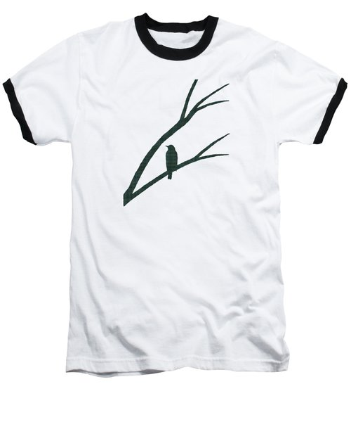 Green Bird Silhouette Plaid Bird Art Baseball T-Shirt