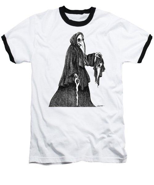 Plague Doctor Baseball T-Shirt by Akiko Okabe