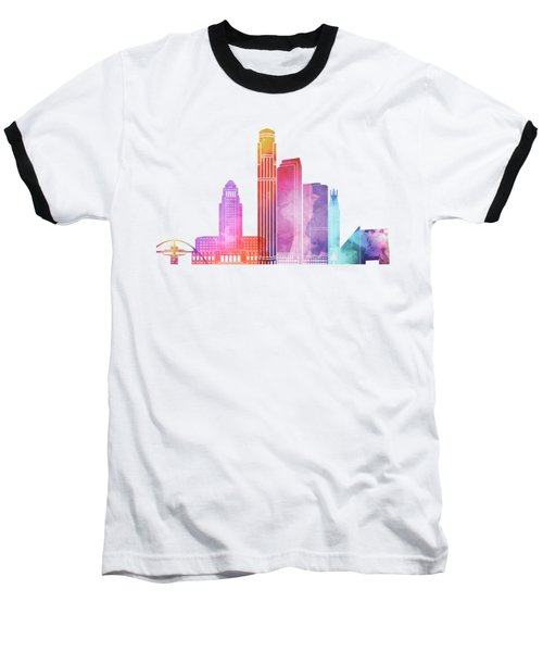 Los Angeles Landmarks Watercolor Poster Baseball T-Shirt by Pablo Romero