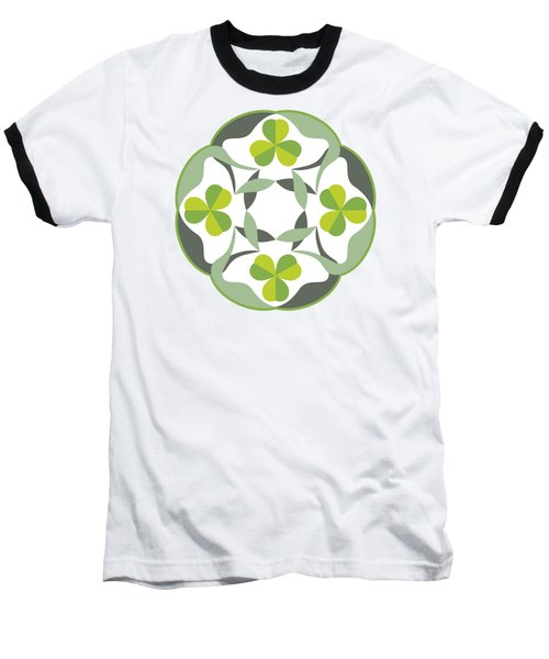 Celtic Inspired Shamrock Graphic Baseball T-Shirt