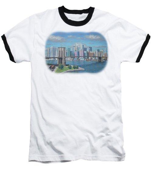 New York Brooklyn Bridge Baseball T-Shirt by Renato Maltasic