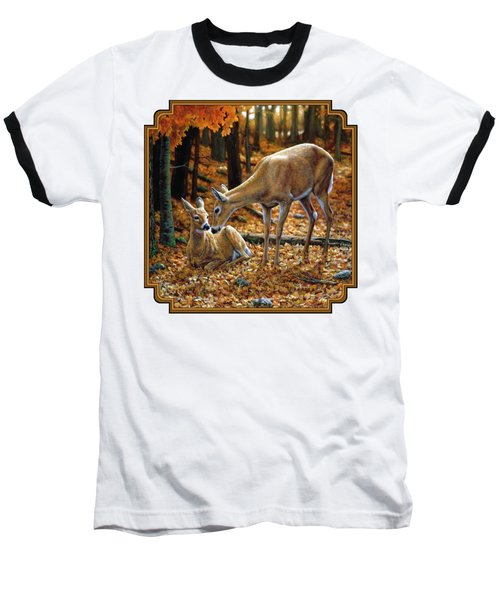 Whitetail Deer - Autumn Innocence 2 Baseball T-Shirt