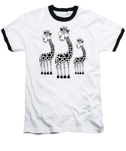 Fudge The Giraffe Baseball T-Shirt by Lucia Stewart