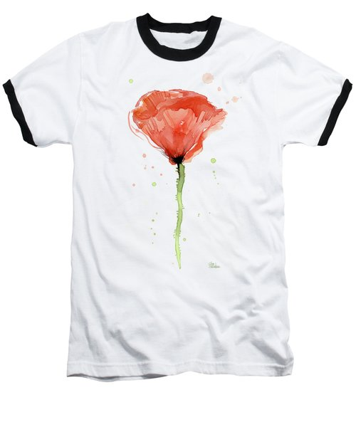 Abstract Red Poppy Watercolor Baseball T-Shirt
