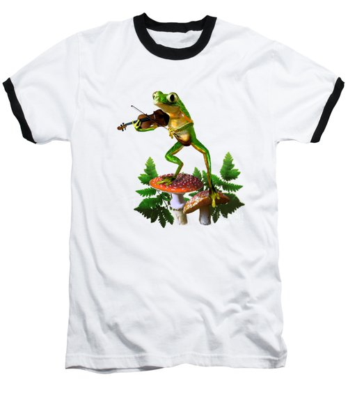 Humorous Tree Frog Playing A Fiddle Baseball T-Shirt