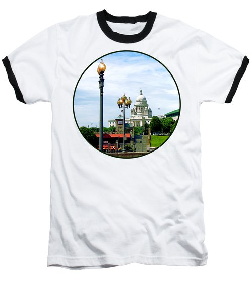 Capitol Building Seen From Waterplace Park Baseball T-Shirt by Susan Savad