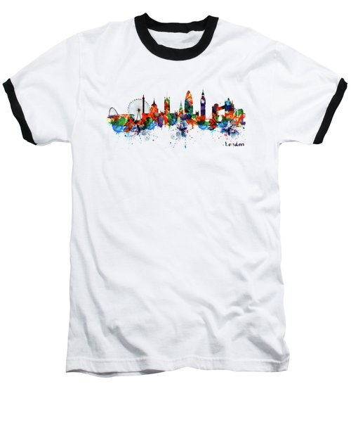 London Watercolor Skyline Silhouette Baseball T-Shirt